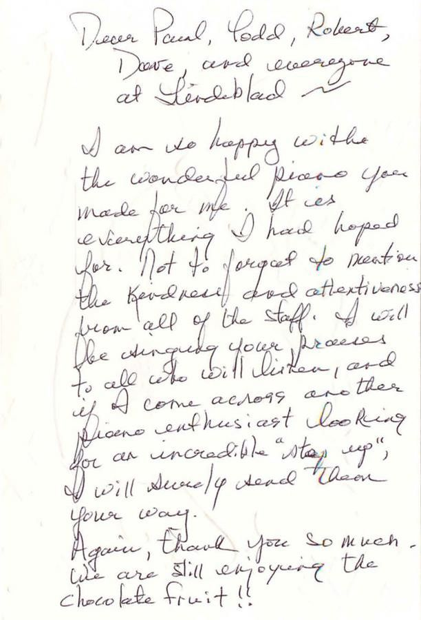 Letter from Julie Curt